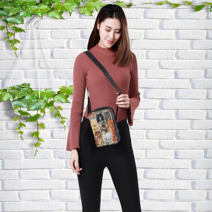CROWDALE Personnaliser les femmes Crossbody sac drôle bricolage impression de chat pour Kid sac Femme Enfants Messenger Bag 23x17x5cm