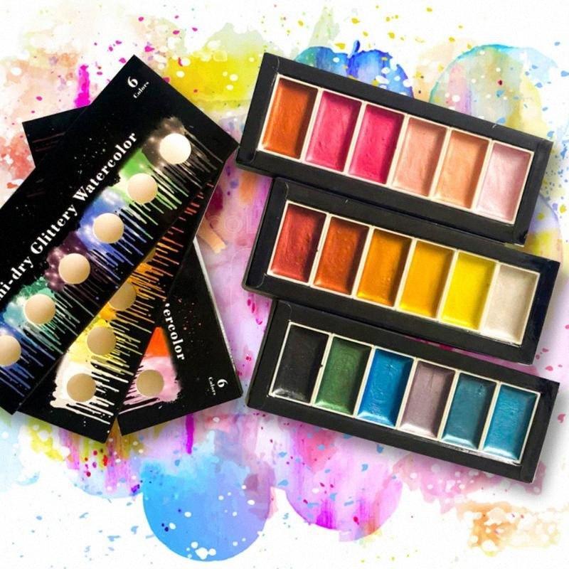6 couleurs froides chaud métallique Aquarelle de peinture Set pour l'artiste Dessin Glitter Aquarellistes Pan Pigment Art Supplies 38Yf #