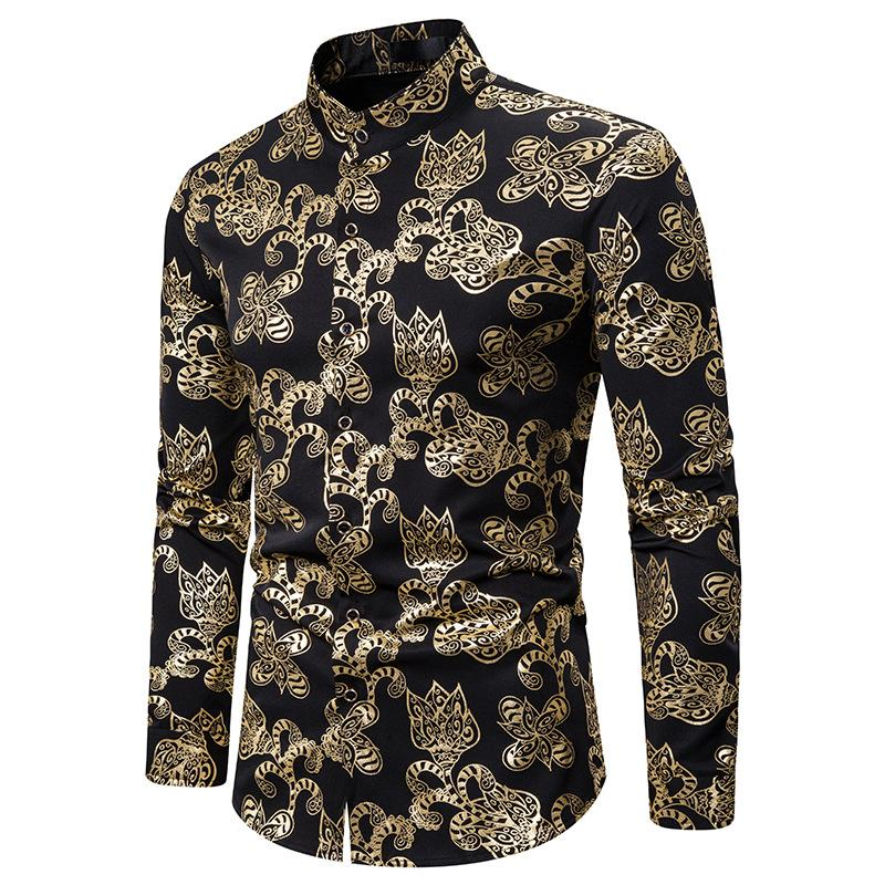 Mode Floral bronzante Imprimer Shirt Hommes 2020 Marque Boîte de nuit robe de bal Collar Mandarin shirt des hommes d'affaires de mariage marié Shirts