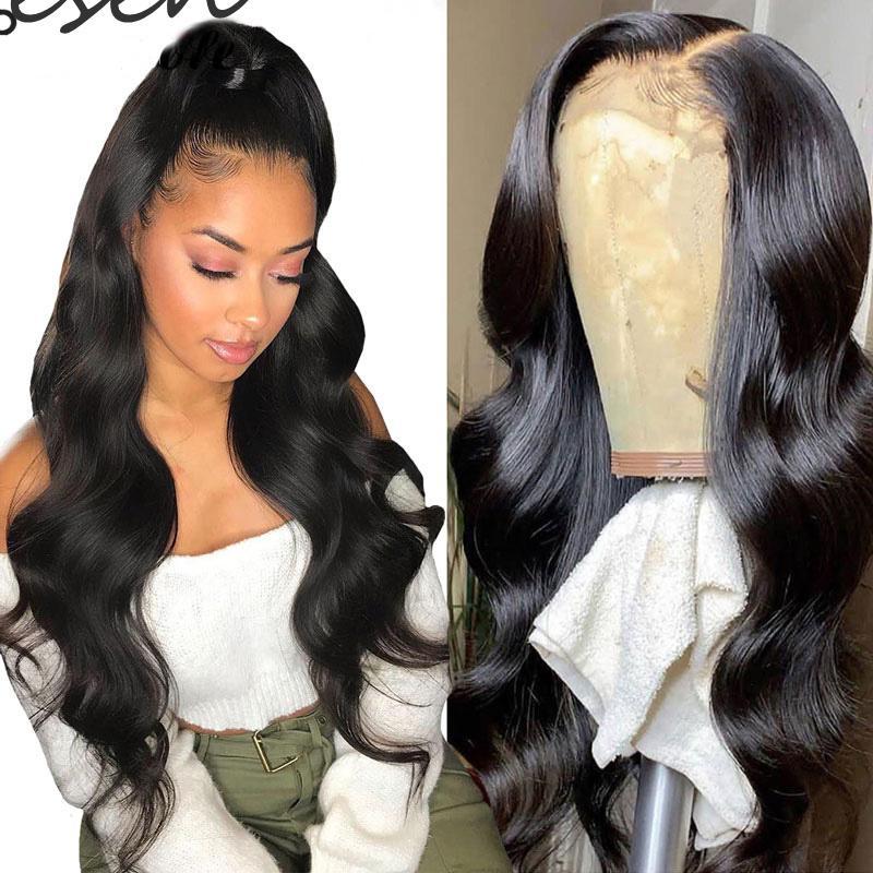 Zesen Бразильский Черная волна Straight завитые парики человеческих волос Heat Resistant Glueless Synthetic 13 * 4Lace передний парики для чернокожих женщин
