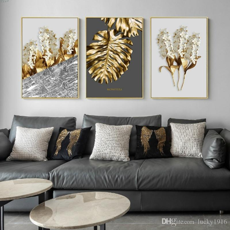 3 Panels Nordic Golden Leaf Flower Oil Painting Black & White Feathers Posters & Print Abstract Wall Art Pictures for Living Room Wall Decor