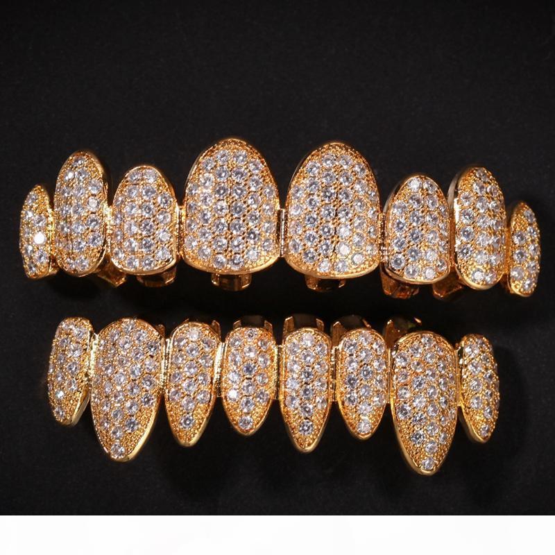 Hacia fuera helado oro 14K Parrillas de cristal dientes Superior Inferior diamante dientes Grillz Hip Hop Bling Cubic Zircon rapero Cuerpo