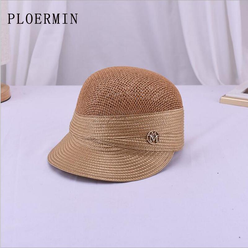 2019 nuovo di estate Carta paglia casuale sole per donna traspirante da baseball protezione esterna Parasole britannico Equestrian Style Hat Y200619