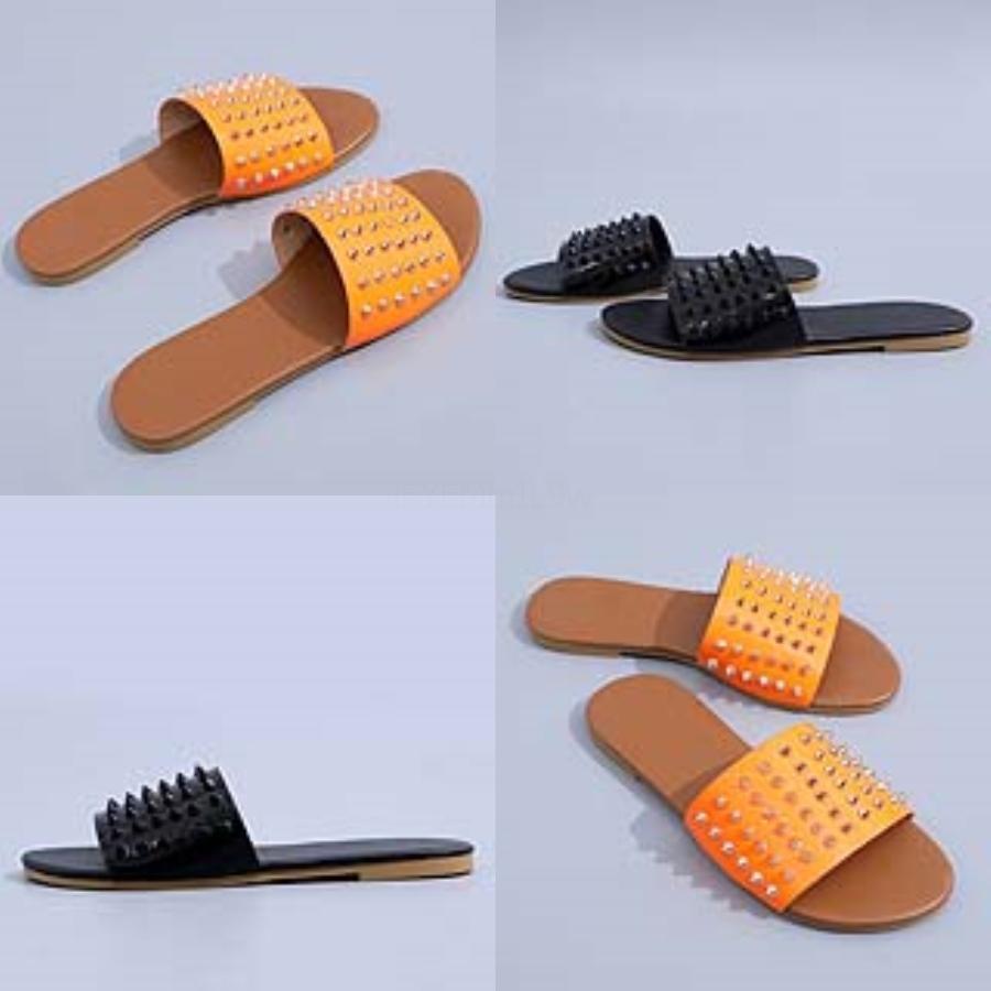 KİT'ler Klasik Bayanlar Sandalet Toka Metal Toka İthal Orijinal Leater Düz Beac Terlik Dener Wo Sandalet Büyük Beden # Wo 865 # 348