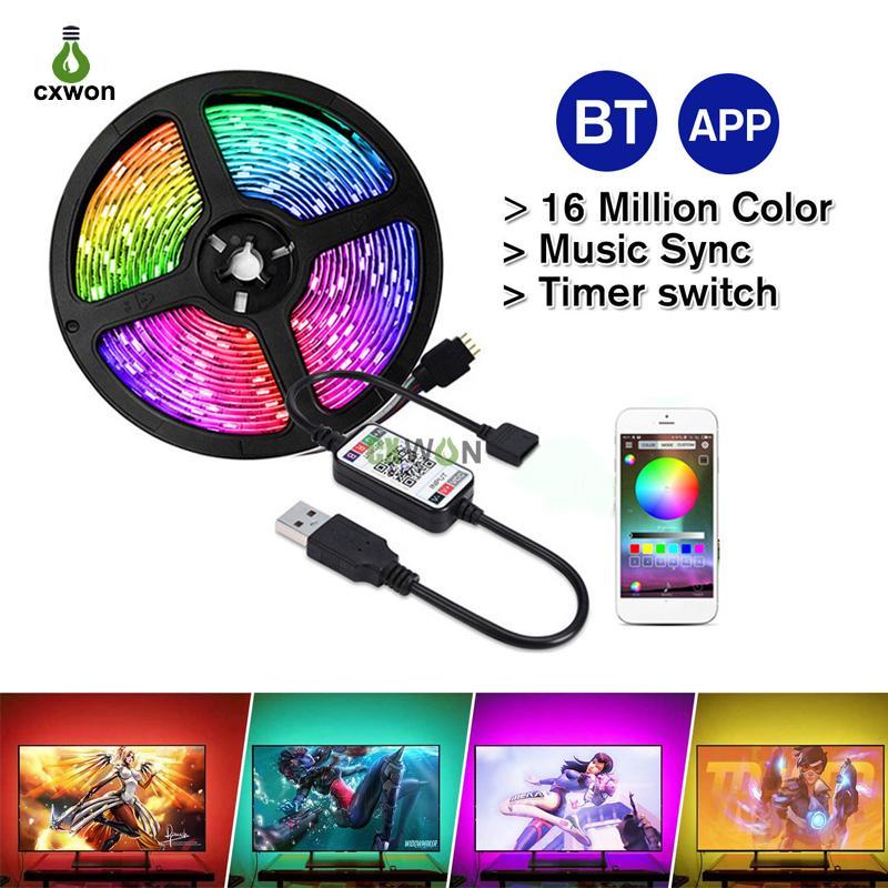 LED TV retroilluminazione DC5V SMD5050 1M 2M 3M 4M 5m Cavo USB POTENZA FLESSIBILE RGB Bluetooth Bluetooth Smart Background Ampiera