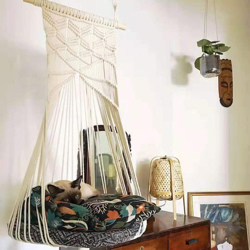 Boho Cat Swing Cage Handmade Macrame Pets Supplies Nordic Pet House Cats Hanging Sleep Chair Seats Toy Four Seasons Available