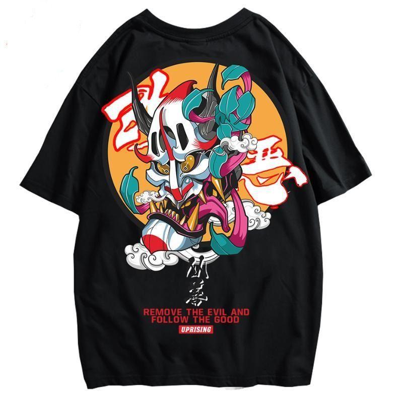 망 패션 힙합 여름 티셔츠 스트리트 캐주얼 티셔츠 짧은 소매 느슨한 남성 탑스 풀오버