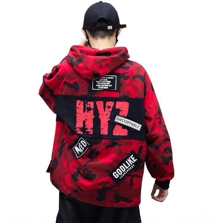 maglione cappotto maglione cappotto di autunno moda giovanile mimetica superiore hoodie di modo casuale allentato maschile x30cY Uomo