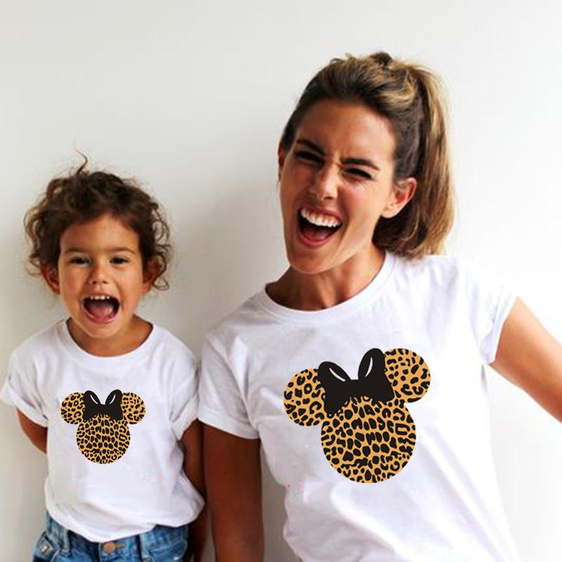 Leopard Mouse Head Print Family Matching Clothes Mommy and Me Clothes White T-shirt Mother and Daughter Family Look Top