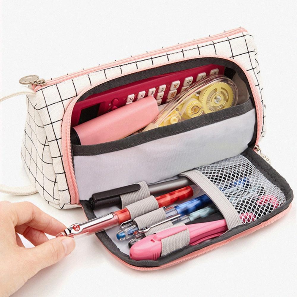 Bella grande capacità della matita della scuola della cassa Studente cancelleria sacchetto della matita portatili regalo Spazzole Bag Box Supplies 93vs #