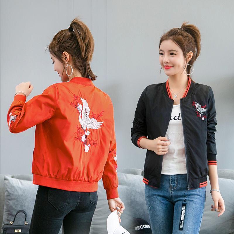 2020 İlkbahar Kadınlar Kore Stil Nakış Uzun Kollu Bayan Ceket Sıkı Casual Kadınlar Bahar Ceket Giyilebilir Jacket İki taraflı