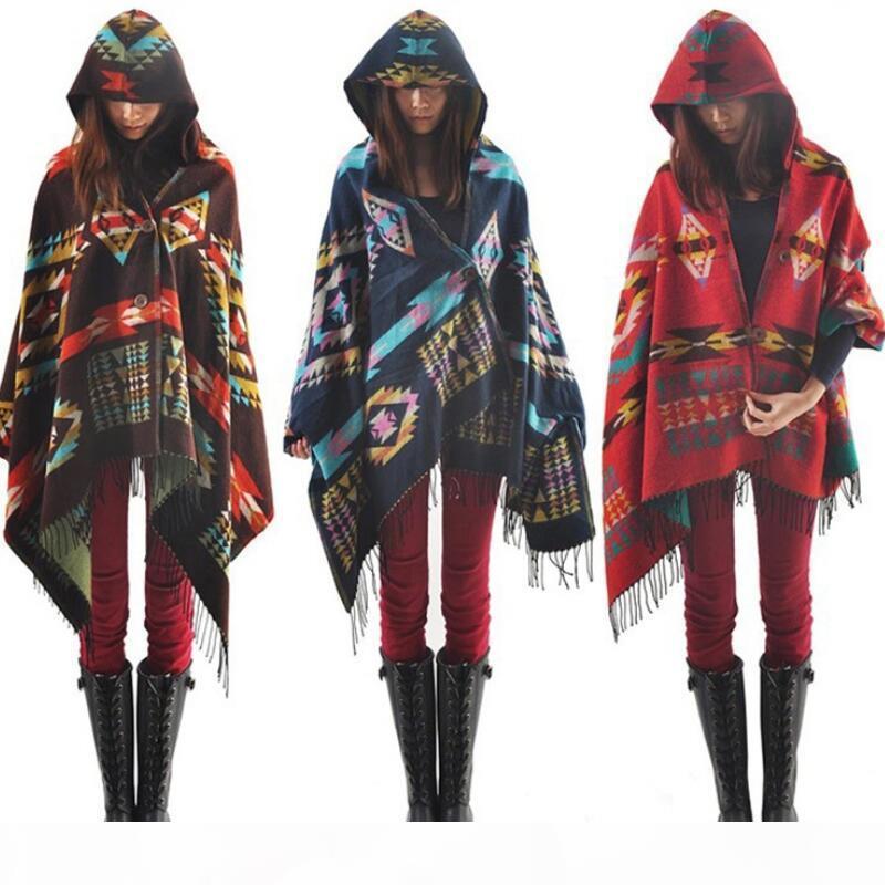 Frauen nationale Art Schal-Verpackungs-Schal in Übergröße prüft Kaschmir-Schal Winter-Nickituch Geometry Blankets Art und Weise Freies Verschiffen