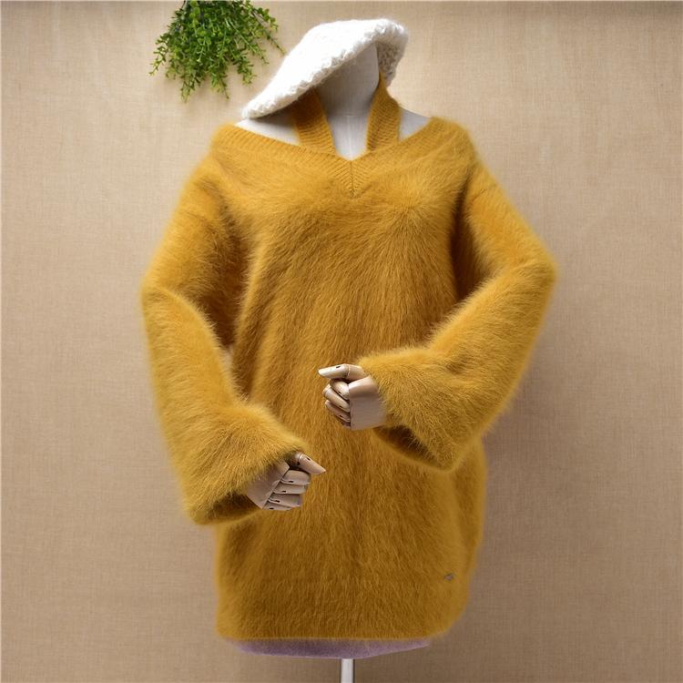 Top-Qualität koreanische lose übergroße lange Nerz Kaschmir lange Laterne Ärmel sexy Riemchen Pullover Pullover Winter Pullover Kleid oben
