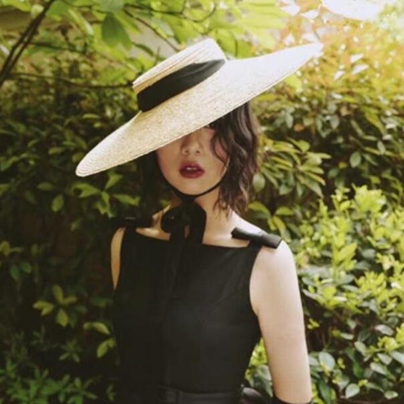 الصيف الساخن مرن القمح سترو قبعة كبيرة بريم شقة قبعات التعادل القوس أنيقة سيدة شاطئ أحد قبعة الفاتحة القبعات T200715