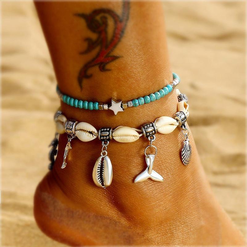 Бифштексы Shell ножные для женщин Vintage ручного камня бисер ножного браслета звезды на ювелирных изделиях Leg Нового Пляж Barefoot Сандал Foot