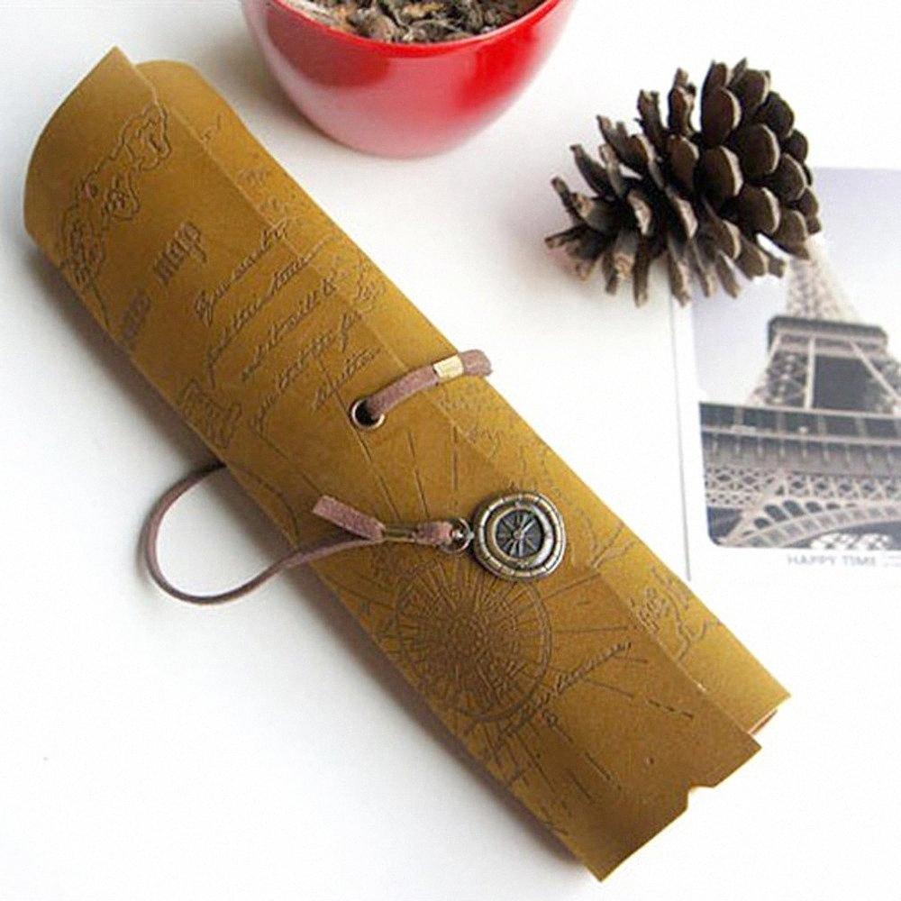 Vintage Leather tesoro del pirata disegno del programma di Imitazione Roll Up cassa di matita per cancelleria scuola Supplies Ry3d #