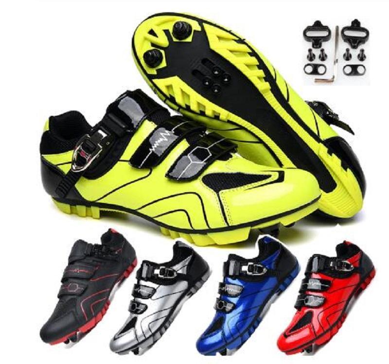 Cycling Shoes Scarpe Uomo Outdoor sport della bicicletta Scarpe professionista Road Racing Bike nero rosso giallo argento