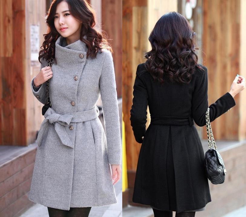 Sonbahar ve Kış yeni Koreli Yün stil kadın ceket uzun ince uzun kollu bayan yün ceket