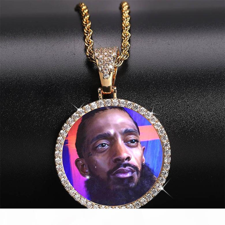 Customized Photos Necklaces Jewelry Fashion 18K Gold Plated Circle Memory Pendant Necklace Bling Zircon Paved Hip Hop Necklaces LN129