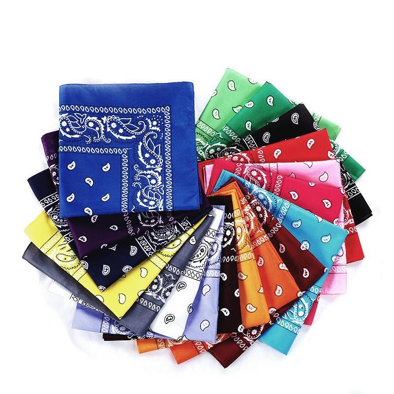 2020 Fashion Hip Hop 100% Cotton Bandana Square Scarf 54cm*54cm Black Red Paisley Headband Printed For Women/Men/Boys/Girls