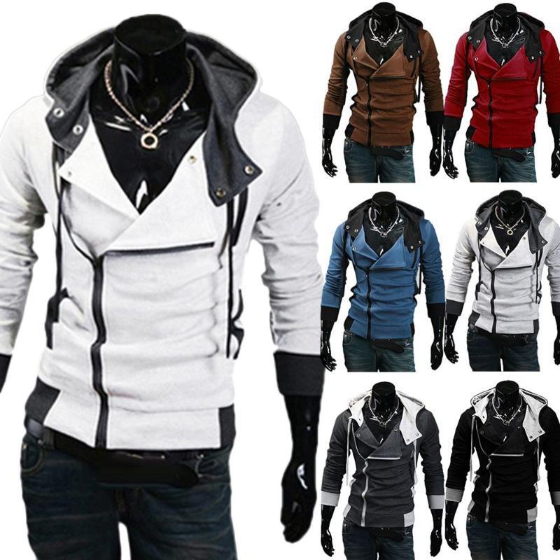 Plus Size cappotto degli uomini a maniche lunghe diagonale Zipper Cappuccio allentato Sport