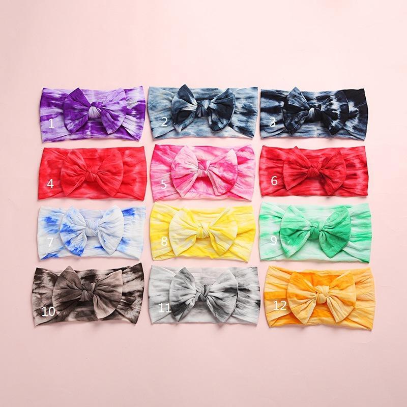 Девочки Радуга Tie Dye Bow ободки 2020 Новый Младенческая Bands Мягкая нейлоновая Stretch Узел волос Head Wrap для малышей Новорожденный Тюрбан M2373