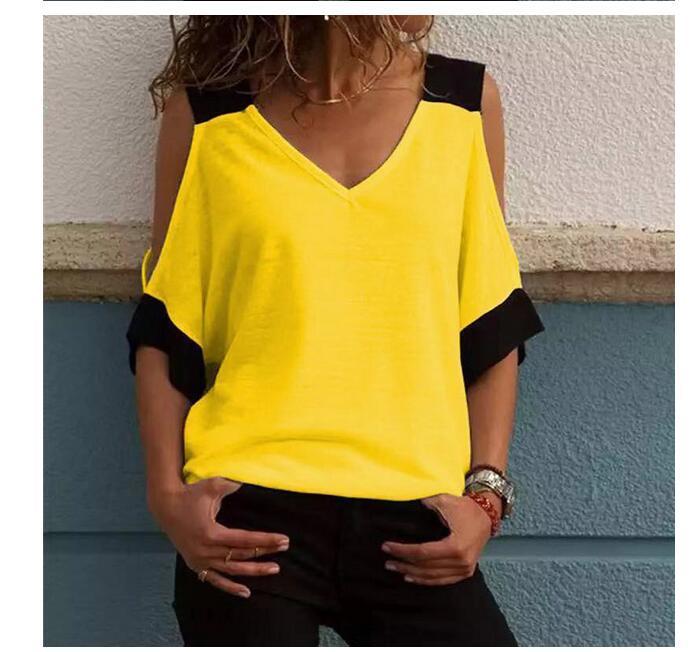 2020 nouveaux top T-shirt pour femmes d'été Top sexy dos ouvert col V gilet T-shirt à manches courtes Gilet femme vêtements populaires