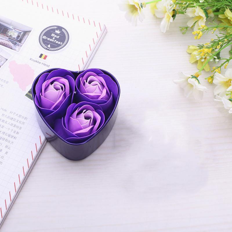 Dia Enfeite Flor Sabão casamento dos Namorados 3pcs / Box Coração Scented Bath corpo Pétala Rose Melhor Presente 2020 para banho