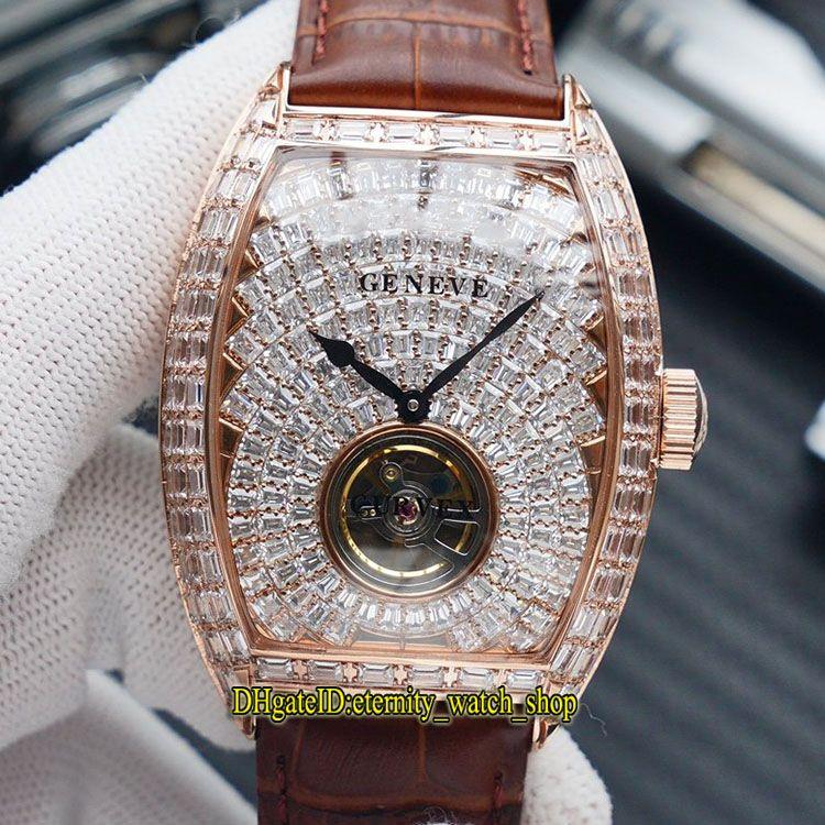 TWF V2 versão MEN'S COLLECTION V 45 T D Automático Mecânica Gypsophila Diamond Dial Mens Watch Rosa de Ouro T-diamantes Caso Iced Out Relógios