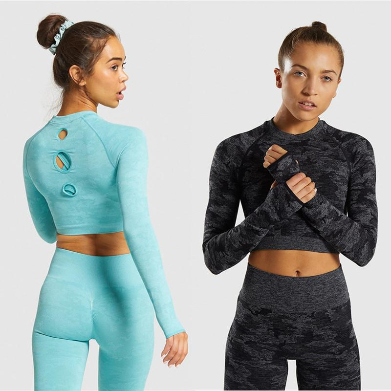 Camouflage Seamless Yoga Set Sport Outfits Women Cut Out Two 2 Piece Long Sleeve Crop top+Leggings Workout Gym Suit Fitness Sets