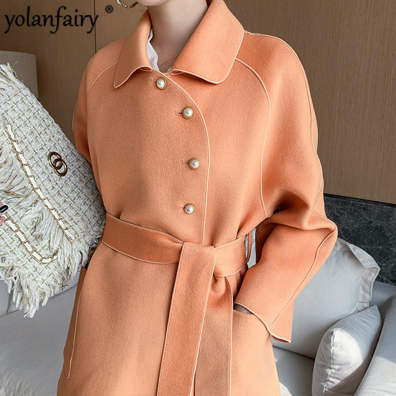 100% lana cappotto femminile Giacca Primavera Autunno cappotto lungo coreano oversize Cappotti e Moda Donna Giacche 2020 YB-SMN-1992 KJ4061