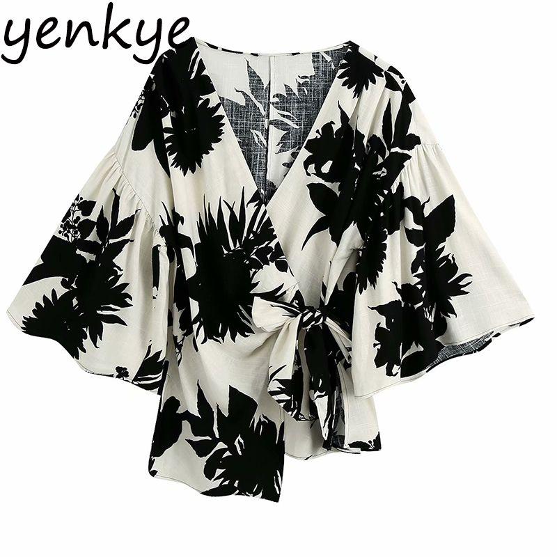 Урожай печатных Wrap Блуза женщин сексуальный V шеи Flare рукавом Асимметричный Summer Tops Tops Размер Streetwear Женский Plus