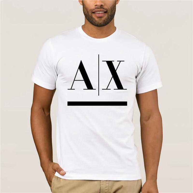 Ax Логотип Men White T-Shirt Смешной Бесплатная доставка Тройник 100% Котт @ На Graphic Унисекс .Casual
