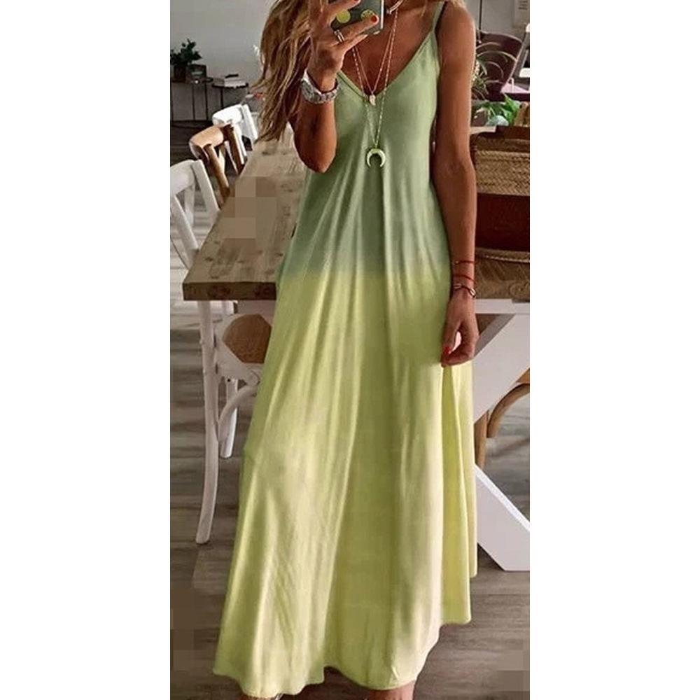 인기 동향 섹시한 슬림 디자이너 여성 드레스 그라데이션 컬러 문자 슬링 캐주얼 민소매 V 넥 패션 여자 여름 드레스