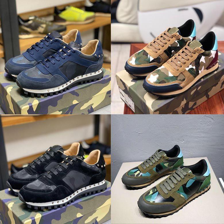 2020 nuovo cuoio di colore appartamenti Moda Scarpe Runner Rivet Casual Shoes Camouflage pelle scamosciata Stud Sport Hot scarpe da ginnastica uomini e donne scarpe stilista