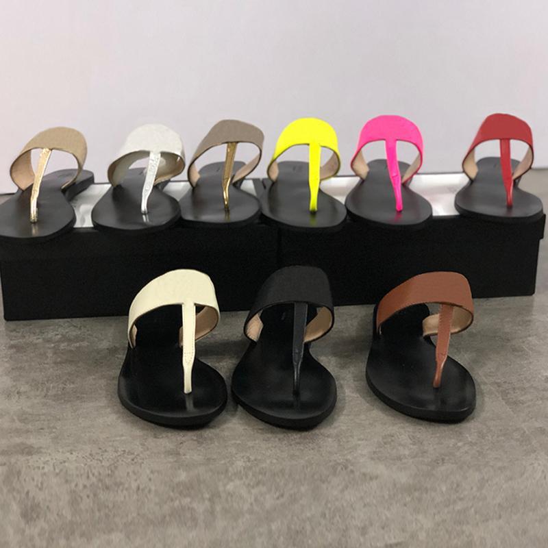 Genuine leather women designer sandal luxury flip flops Metal Summer slipper Large size 34-42 with box 9 colors cs03