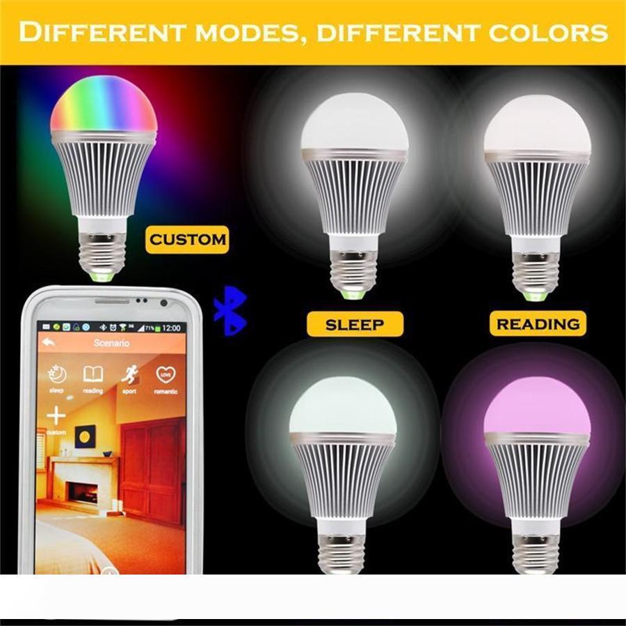 برايت السامية RGB LED بلوتوث اللاسلكية الذكية ضوء لمبة لمبة E27 5W RGBW لالروبوت ودائرة الرقابة الداخلية لAC85-265V