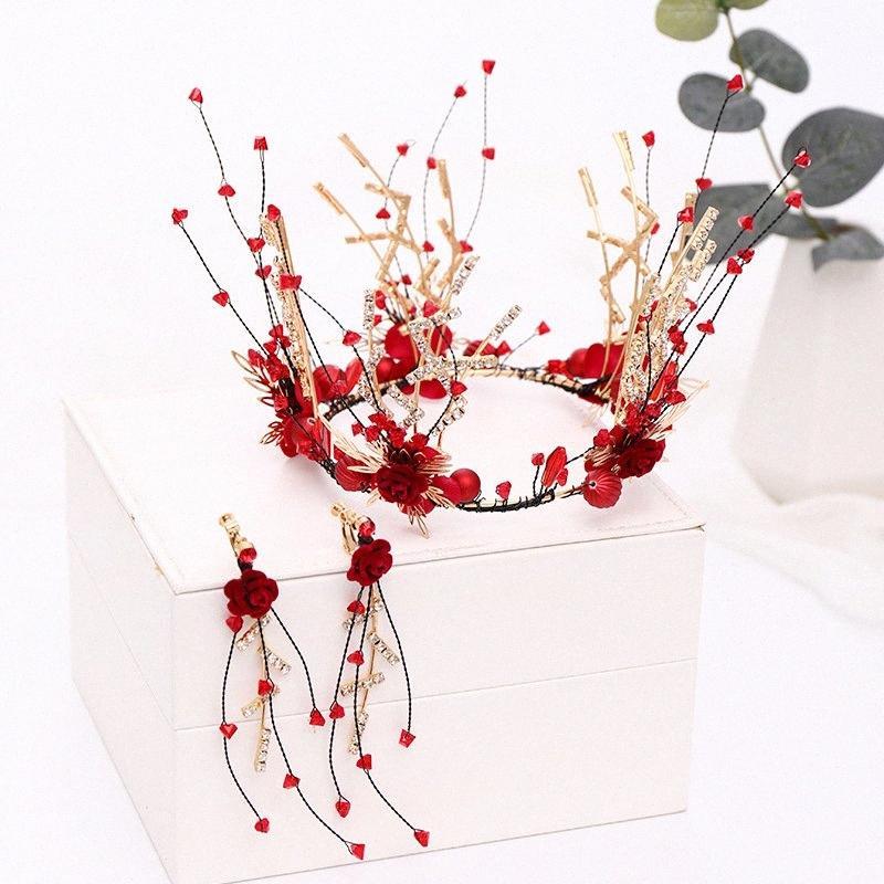 Jóias Noiva Acessórios de cristal vermelho Full Circle Flower Red Faux pérola da coroa e brincos conjuntos de jóias de casamento das mulheres Set XH IROI #
