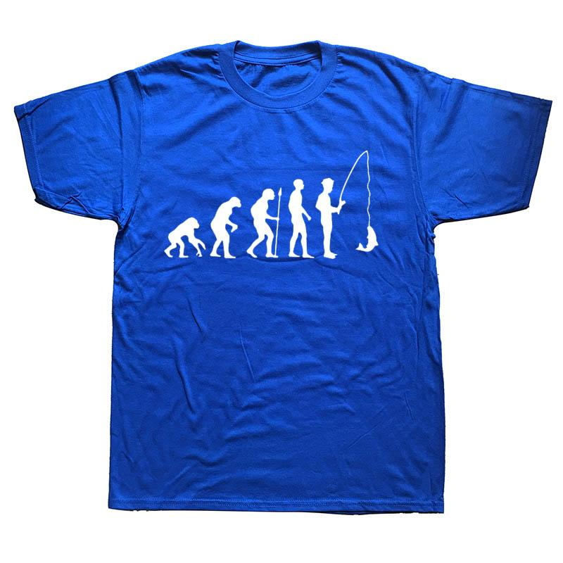 Nueva gran tamaño Verano Marca camisetas de cuello redondo Manga corta hombre Moda Evolución pescado T Shirts