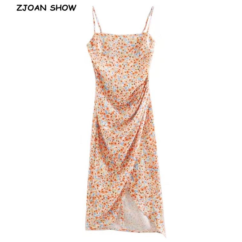 2020 여성 우아한 오렌지 해바라기 인쇄 스파게티 스트랩 드레스 패키지 엉덩이 프론트 슬릿 불규칙한 롱 드레스 슬링 Vestido