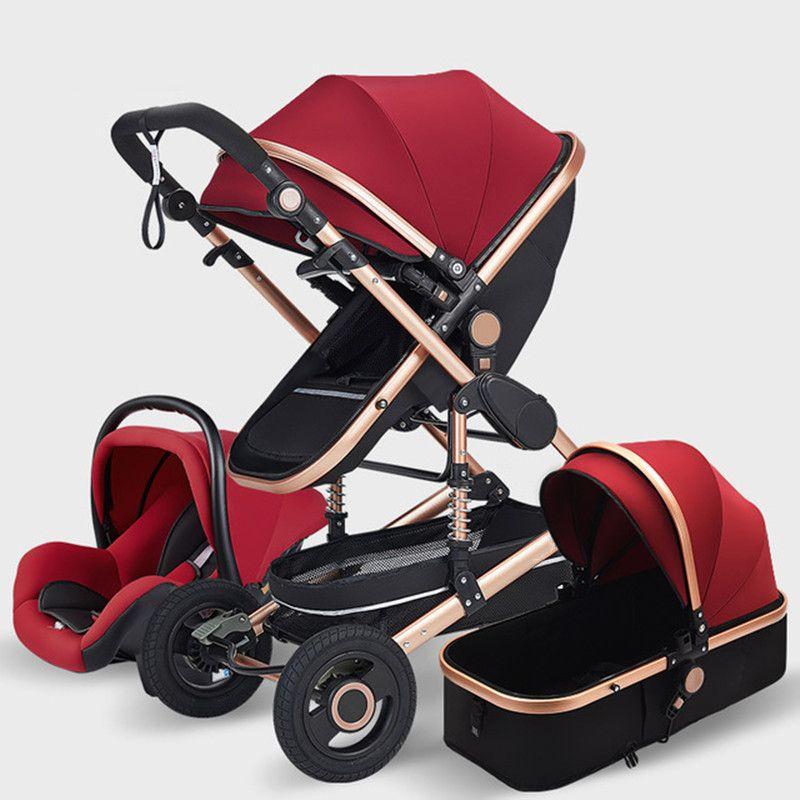 عربات الأطفال # متعددة الوظائف 3 في 1 عربة طفل الفاخرة المحمولة عالية المناظر الطبيعية 4 عجلة قابلة للطي النقل الذهب ولد