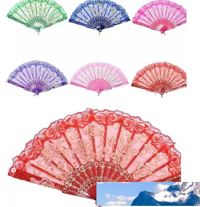 estilo español levantó el diseño del ventilador marco de plástico de seda de la mano de encaje de flores, artesanía china abanico plegable
