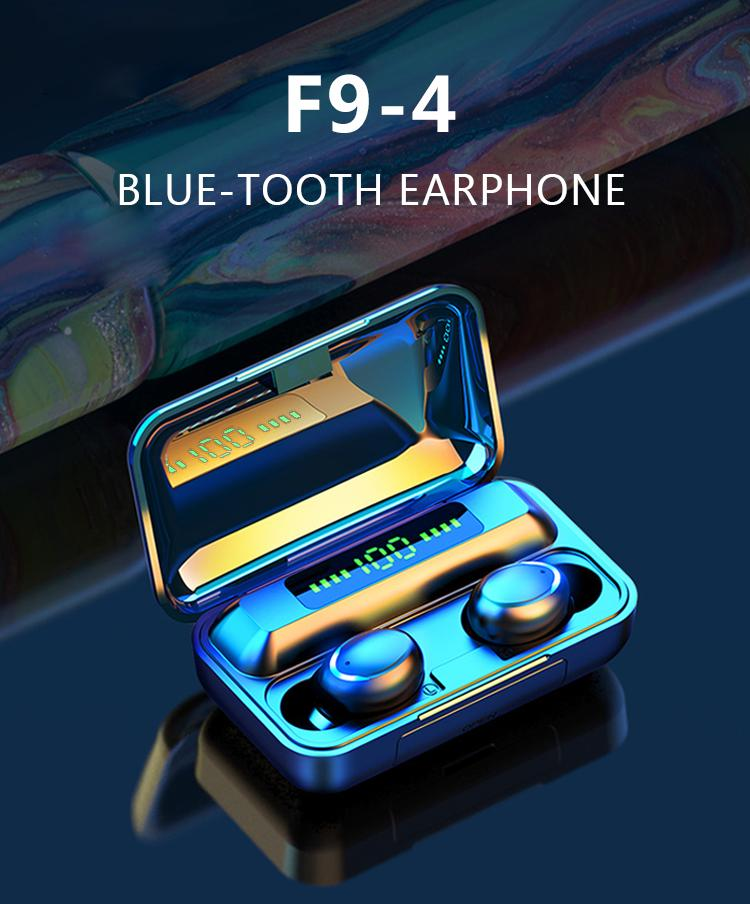 Niedriger Preis Fabrik OEM Kundenspezifische F9-4 Wahre Rauschunterdr Led Digital Light Mini Bluetooth Kopfhörer drahtloser