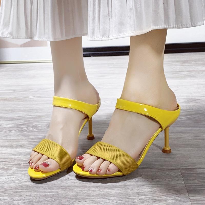 nAjii sandales de style coréen des femmes 2020 simples à bout ouvert arrière talons hauts vide respirant tricotées Sandales et slippersSlippersthin talon surpasser
