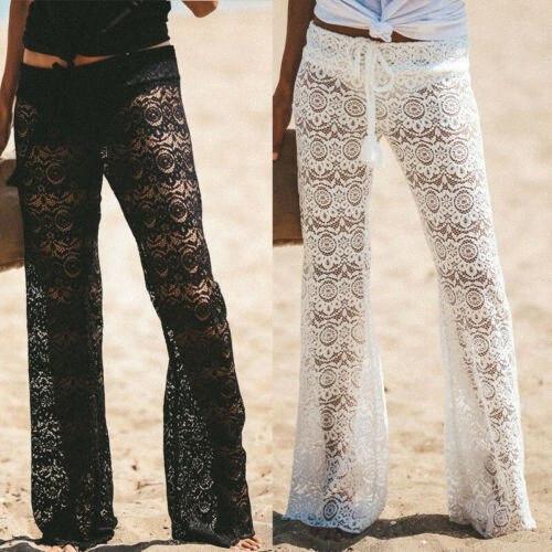 Frauen Palazzo Wide Leg Hose Damen Plain Ausgestelltes Hose plus Größen-Dame-Sommer-lose Beach Wear Fashion aushöhlen lange Hosen eSjl #