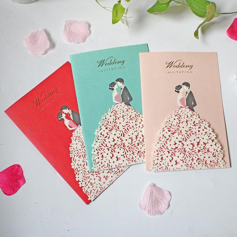 Epoux creux Creative mariage Carte d'invitation de fête d'anniversaire de fiançailles Saint Valentin Carte Journée spéciale fête de mariage
