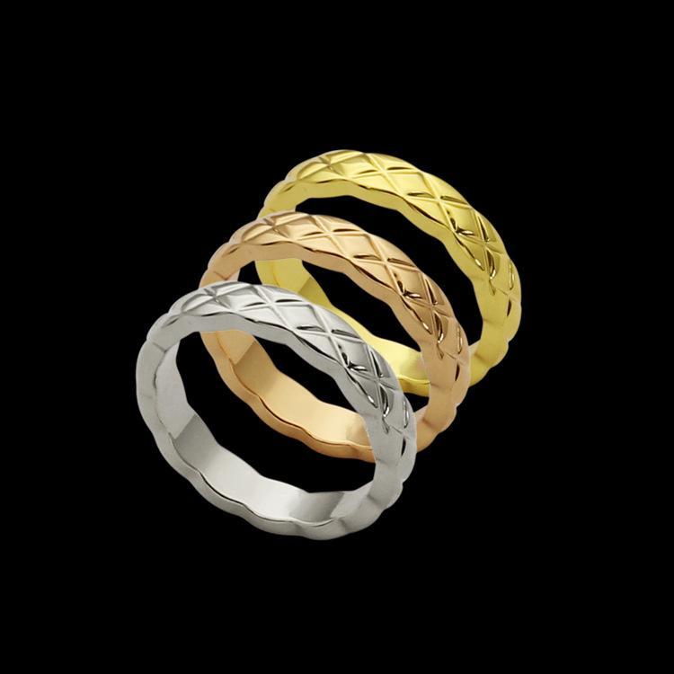 Nova marca pequeno versão de linhas de largura homens trompete 3mm e mulheres anel de ouro 18K dom anel de noivado de jóias