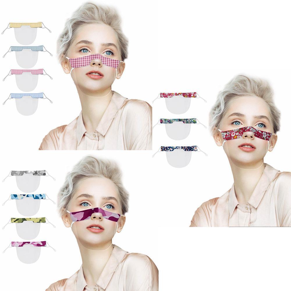 Maschera labbro PVC maschera mimetica quadri stampato floreale coperchio trasparente bocca maschera trasparente adulto all'aperto maschere protettive CYF4283