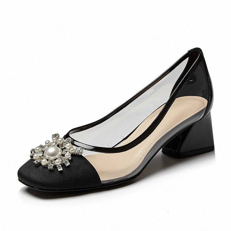 Mode Kleiner Frische-Absatz 2020 neue Frauen-Schuh-spitze Stiletto Einzel Schuhe wilder schwarzer Arbeitsplatz Pumps vntI #