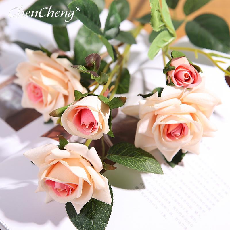 Chencheng 5 Jefes 64 cm de flores artificial del ramo de Rose falso boda Inicio Sala de estar Tabla Decoración de la flor